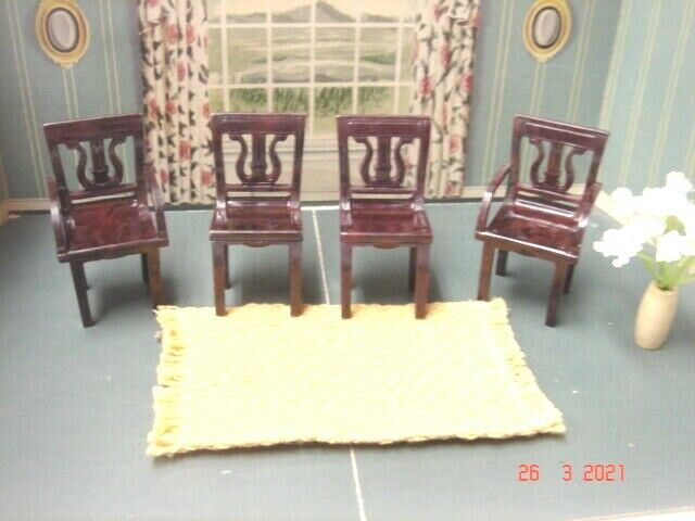 1950 s Set Of 4 Plasco Dollhouse Dining Room Chairs - Renwal, Ideal, Marx - $5.99