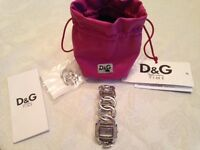 D & G silver designer womens watch with diamonte detail
