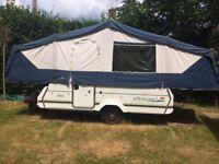 Pennine Sterling 510 folding camper trailer tent, 6 berth, 2 ring gas hob, fridge, sink with tap