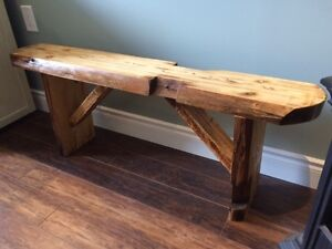 HANDCRAFTED CEDAR BENCH GREY BASE - GORGEOUS!! Kitchener / Waterloo Kitchener Area image 5