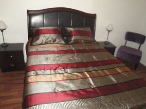 King Size Bed, Chest Of Drawers Unit & Leather Single Sofa