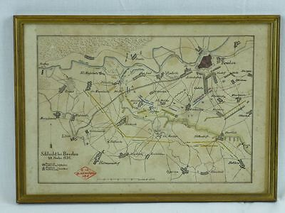 """(H269)  Original Kupferstich Landkarte """"Schlacht bei Breslau"""" 22 November 1757"""