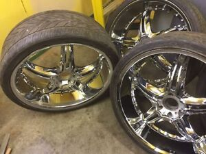 4 26 inch chrome Dvinci attivo 6x139.7 rims and tires