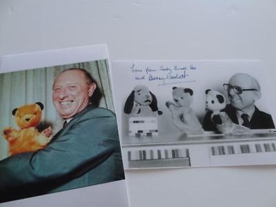 CHILDREN TV SHOW SOOTY HARRY CORBETT SIGNED RE-PRINT SWEEP & SOO PHOTOGRAPH