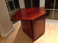 Mahogany Corner Lamp table/TV with under storage cupboard