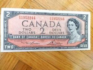 1954 Canadian $2 bill Circ Lawson & Bouey