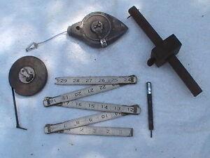 Tools Chalk Line Marker Punch Folding Ruler Plumb Bob..Vintage