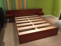 Vintage mid century queen sized teak bed + 2 night stands tables