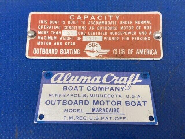 Photo 1963 64 Vintage Alumacraft Maracaibo Alpex Boat ID Plate Spec Plate OBC Plate