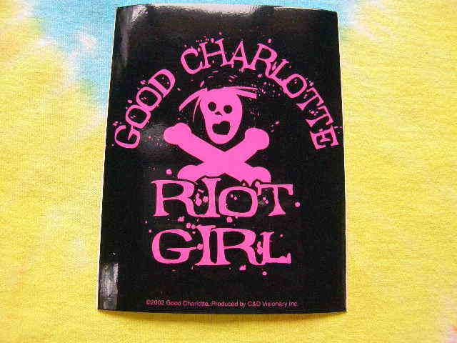 Good Charlotte Riot Girl Hot Pink & Black 3.5 x 4.5 Inch Sticker