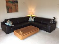 Real Leather Brown Settee/Sofa/Couch Corner Unit