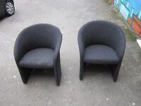 Two Reception Armchairs . Black colour .