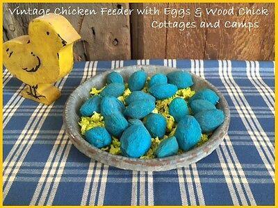 Antique Metal Chicken Feeder Blue Eggs & Grass with Primitive Vtg Wood Toy Chick