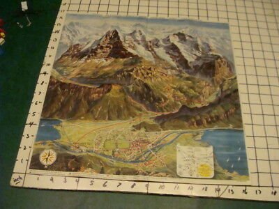 vintage brochure - JUNGRFAUJOCH  - BERMISE ALPS, SWITZERLAND 1950's map COOL