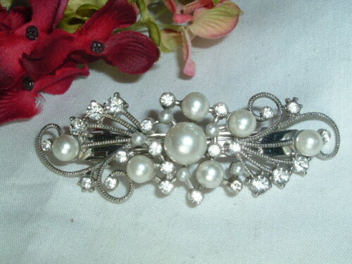 Silver and White Rhinestone and Pearl Hair Barrette for Wedding or Prom