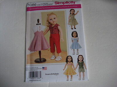 "New Simplicity 1086 Pattern 18"" American Girl Doll Vintage Clothes FREE SHIPPING"
