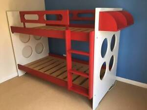 Snooze Red and White Solid Wood Bunk Beds Sheidow Park Marion Area Preview