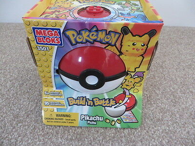 Vintage Pokemon Mega Bloks 3501 - Build n Battle Pikachu in Pokeball - NEW