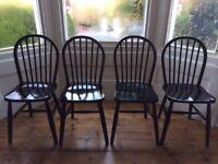 Set of 4 Original Vintage Black Wooden Kitchen Dining Chairs