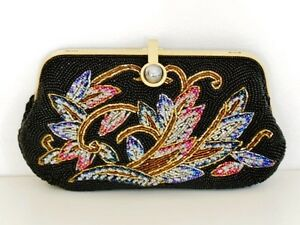 Beaded Evening Clutch Purse Bag Handbag - Black (02040118)