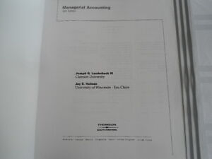 USED BOOK : MANAGERIAL ACCOUNTING SELECTED CHAPTERS Kitchener / Waterloo Kitchener Area image 2