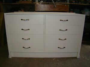 8 drawer sturdy dresser recently painted in arctic white