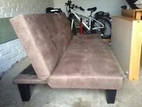 Faux Suede Sofa bed in Brown - Excellent condition