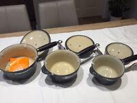 Le Creuset 3 saucepan set in Granite colour