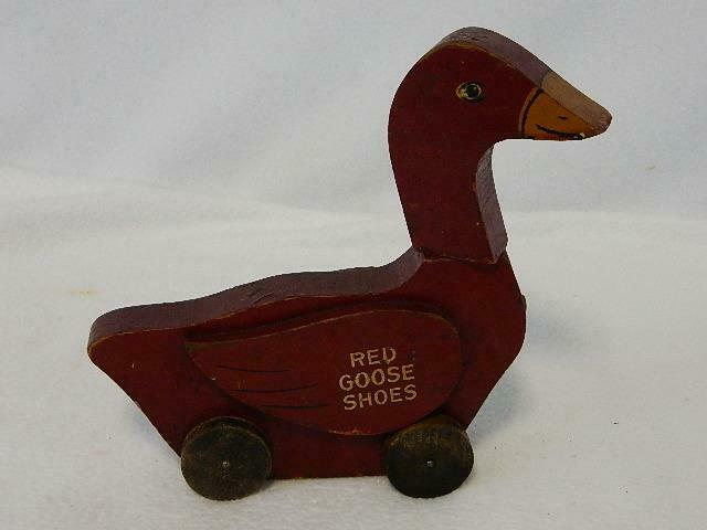 Vintage Red Goose Shoes Advertising Promotional Wheeled Wooden Toy