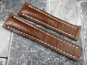 20mm Leather Strap Brown Deployment Watch Band BREITLING NAVITIMER 20 mm