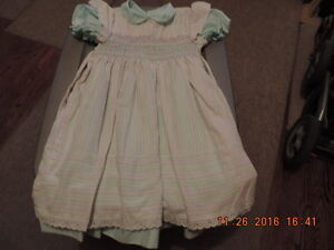 Girl's 6X Vintage Polly Flinders Dress & Smocked Pinafore