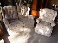 Pretty Two Piece Suite, Two seater sofa and armchair - Can Deliver