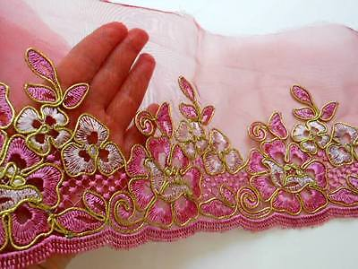 """Rose Red Corded Floral Embroidered Lace Trim for Sewing/Crafts /6.5"""" Wide"""