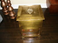 1800s Coal Box ART NOUVEAU Arts & Crafts Brass over Copper