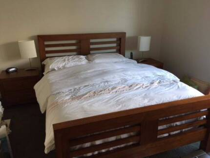 Queen Bed with Mattress and 2 Side Tables in good condition
