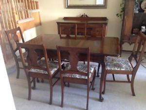Gibbard Solid Walnut Dining Room Table & Chairs, and a Buffet
