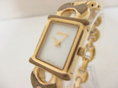 Auth GUCCI 1800L Gold Ivory Women