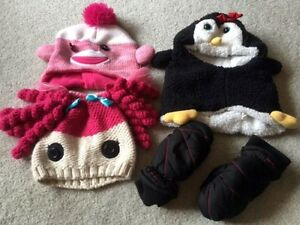 3 - Girls FUN Winter Hats & One Pair of Mitts