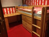 Dreams Mid Sleeper Bed includes mattress,push in desk, moveable chest of drawers and shelving unit