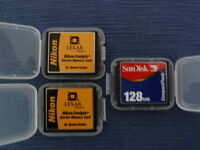 Compact Flash Card 128MB - Sandisk, 2-Nikon Coolpix Memory Cards