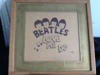 Beatles love me do framed sketch.