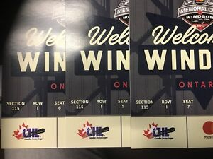 Complete 3 seat Premium Package Memorial Cup Tickets