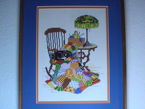 Black Cat Needlepoint Embroidery Cross Stitch 1970s  Quilt Tiffany Completed