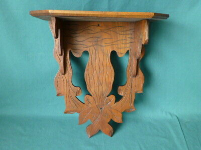 Antique Carved Walnut Wooden Hanging Wall Clock Shelf 440