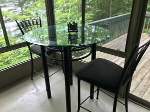 Glass top round bar table with 2 chairs