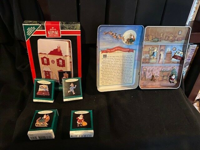 1992-1996 Hallmark miniature COMPLETE set NIGHT BEFORE CHRISTMAS tin house + 4