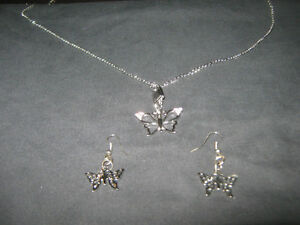 Handcrafted Light Butterfly Necklace & Earrings- NEW!