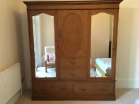 Edwardian Double Wardrobe with 2 mirrors and 4 drawers plus additional hanging space in centre