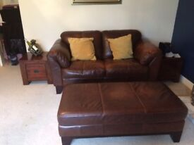 Brown leather 2 seater sofa with large stool