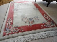 Chinese washed pure wool rug. Red border/cream background (ex John Lewis).
